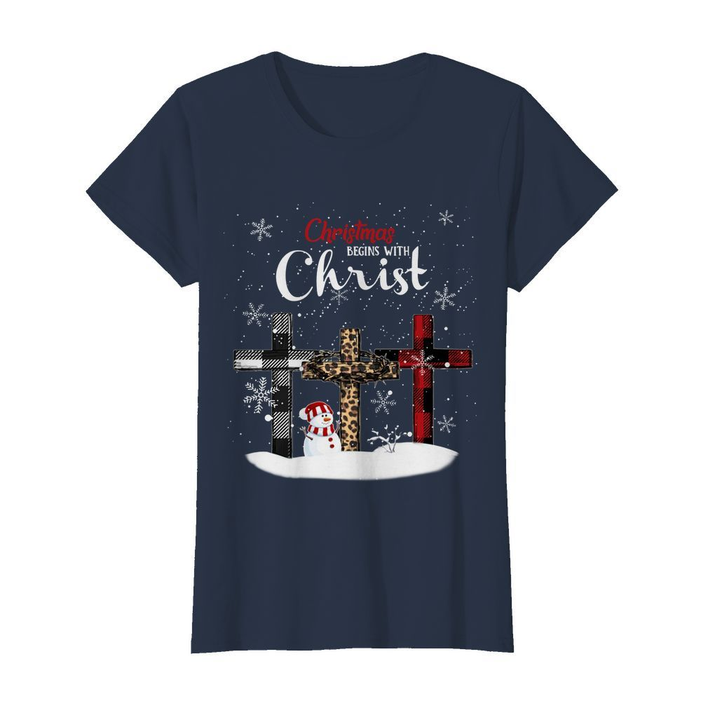 Christmas begins with christ crosses womens shirt