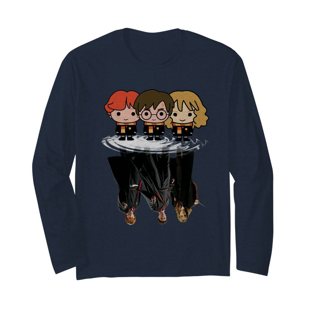 Harry Potter chibi characters water mirror reflection long sleeved