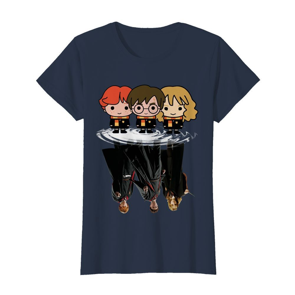 Harry Potter chibi characters water mirror reflection womens shirt