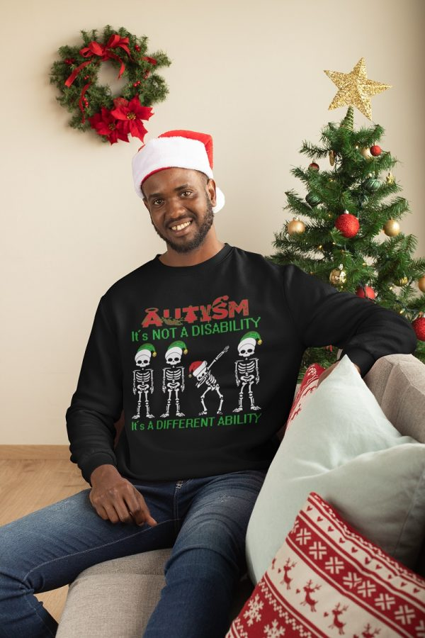Wonderful Skeleton autism is not a disability it's a different ability Christmas shirt