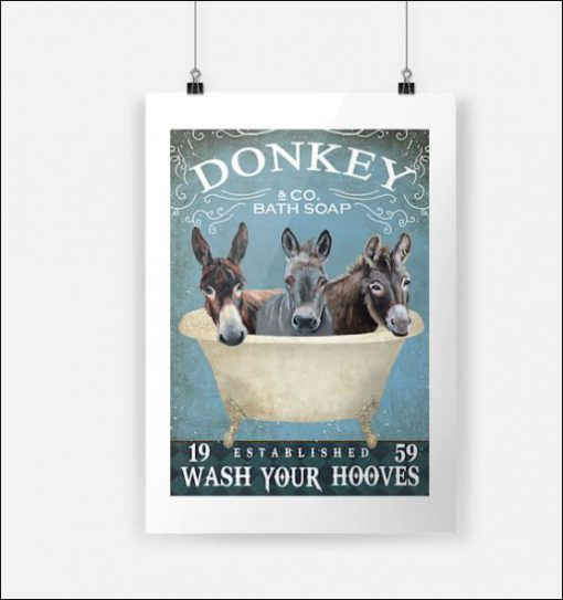 Donkey co bath soap wash your paws poster