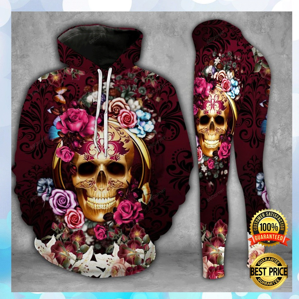 Floral Skull 3d Hoodie And Legging 4