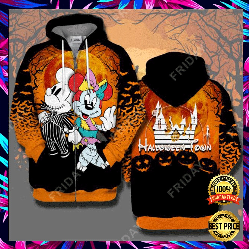 Halloween Town Mickey Mouse And Minnie Mouse 3D All Over Printed Hoodie 4