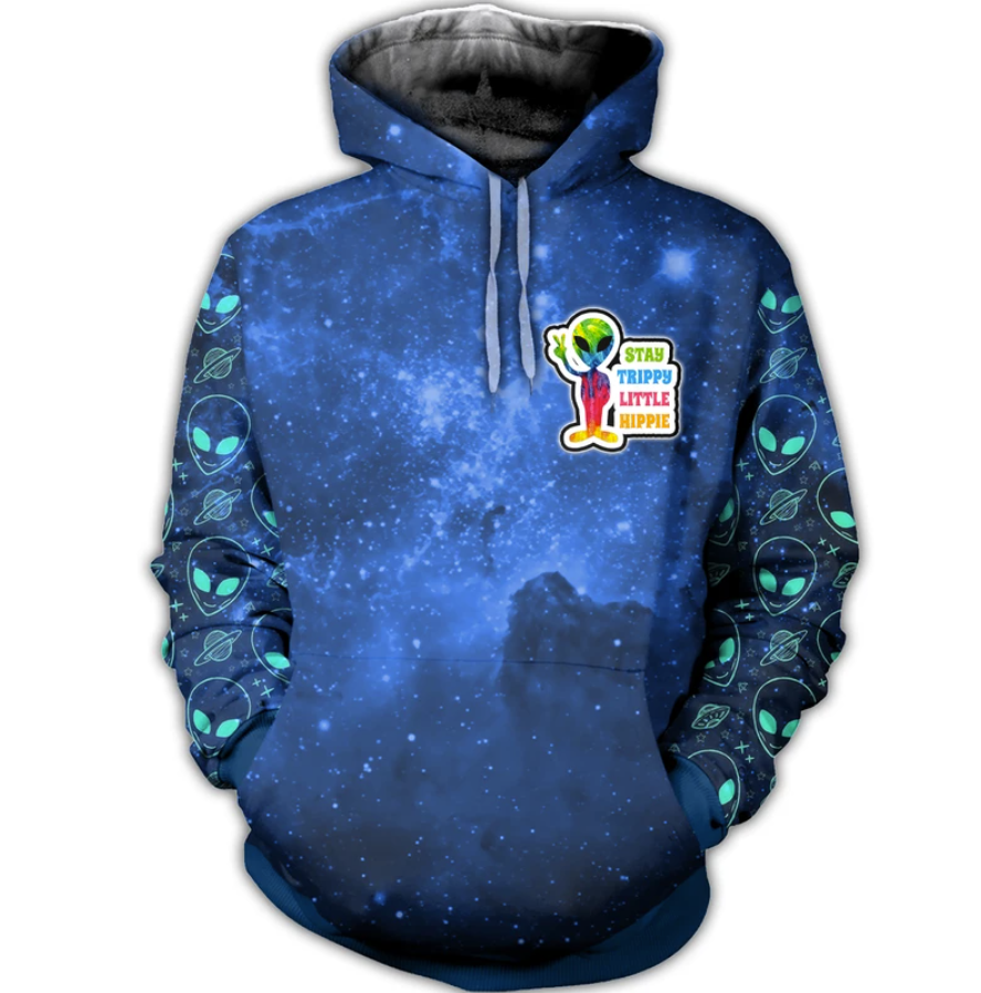 Alien Stay Trippy Little Hippie All Over Printed 3d Hoodie 4