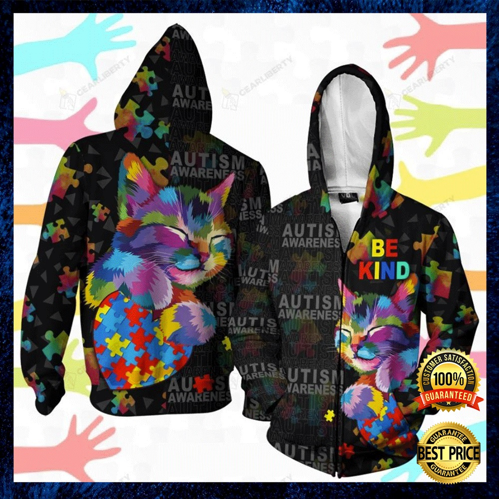 Autism Awareness Cat Be Kind All Over Printed 3d Hoodie 4