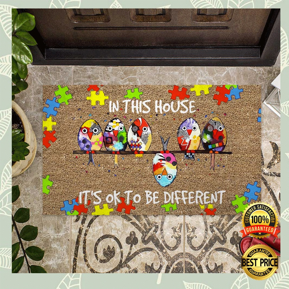 Autism Awareness In This House It's Ok To Be Different Doormat 4