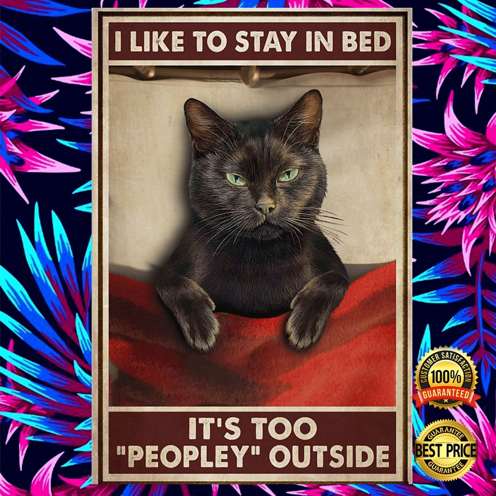 Black Cat I Like To Stay In Bed It's Too People Outside Poster 5
