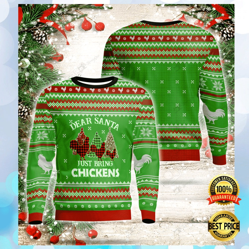 Dear Santa Just Bring Chickens Ugly Sweater 4