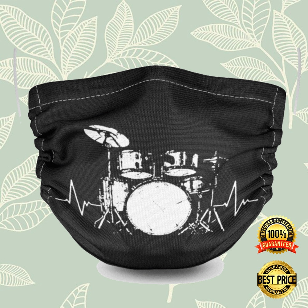 Drum Set Black And White Face Mask 4