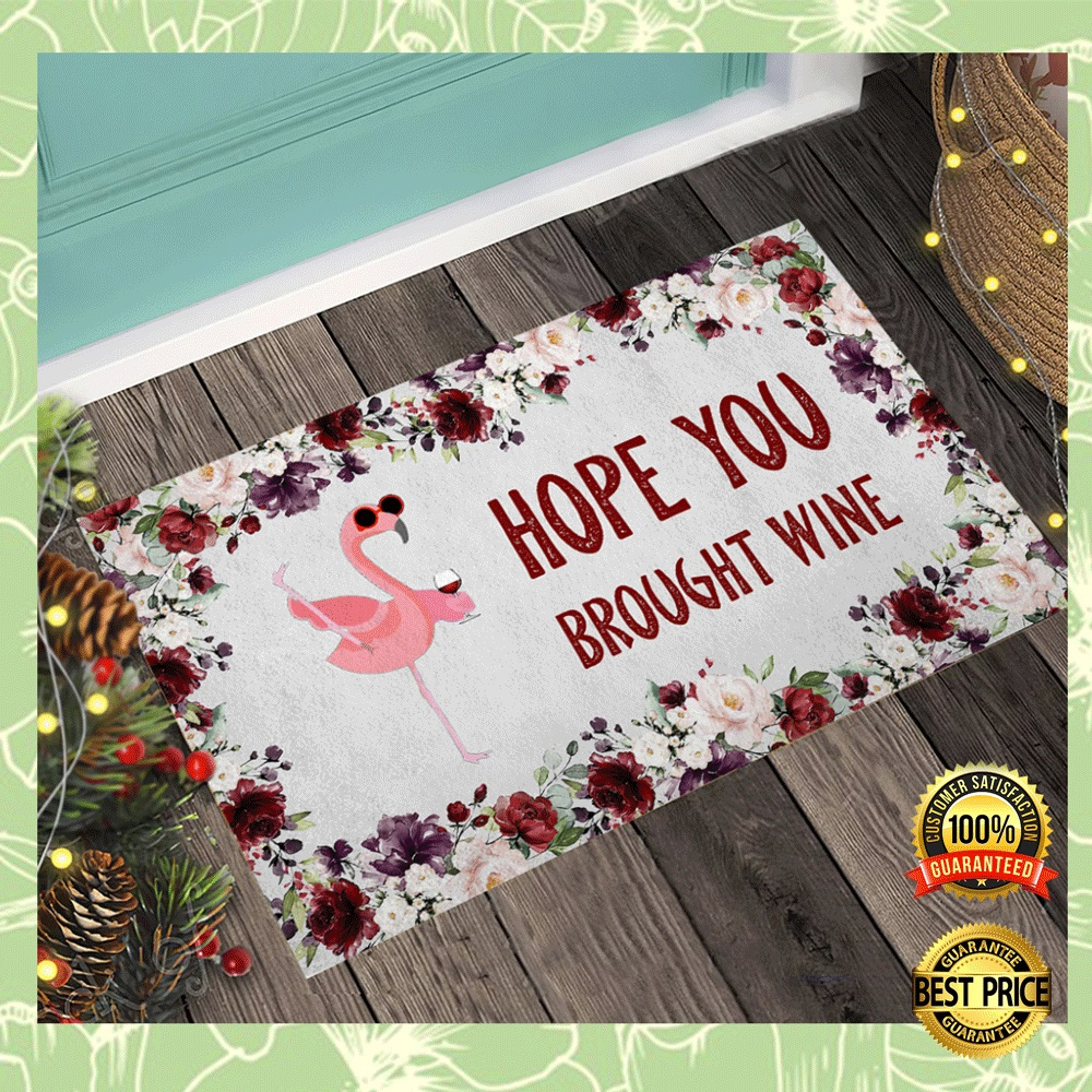 Flamingo Hope You Brought Wine Doormat 4