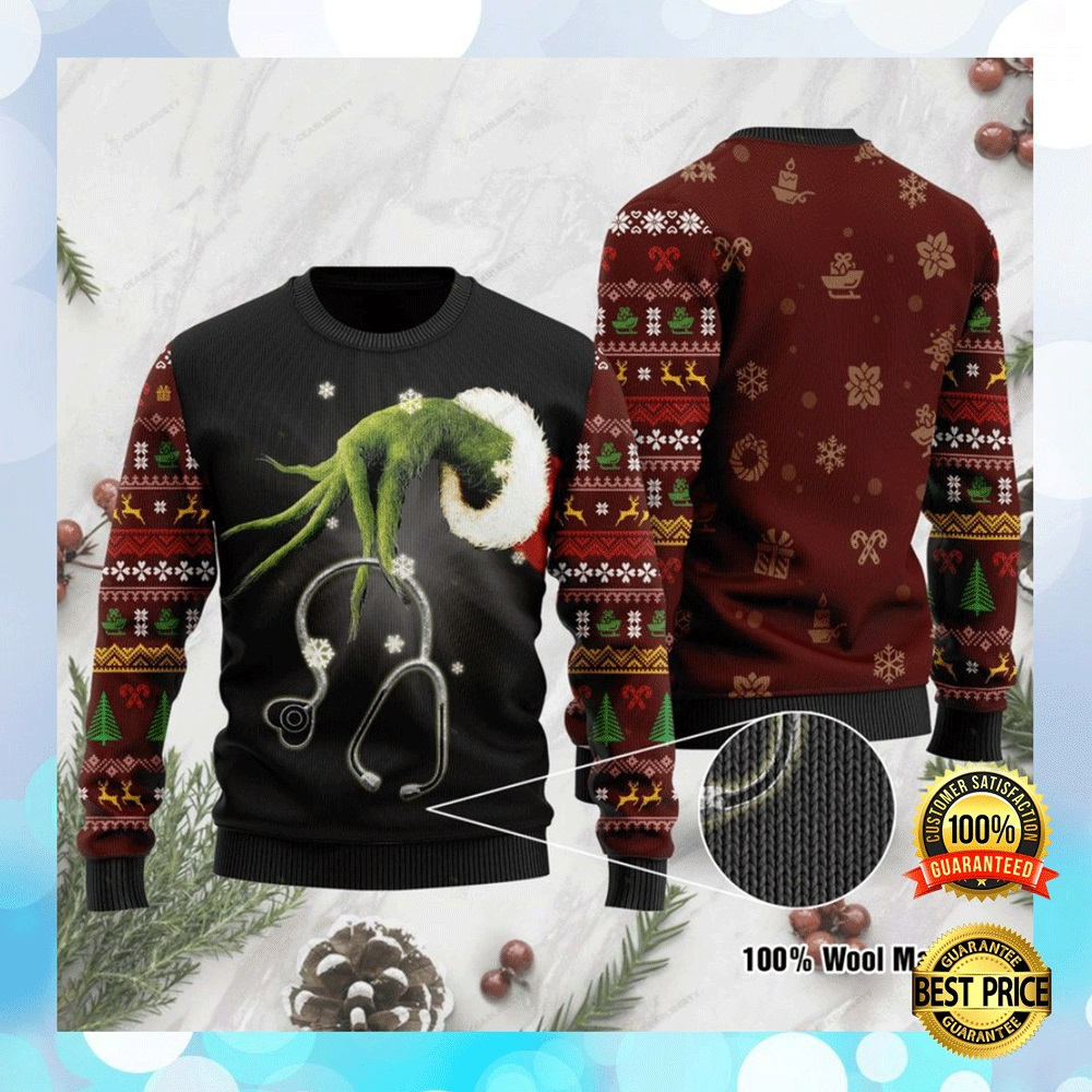 Grinch Nurse Ugly Sweater 4