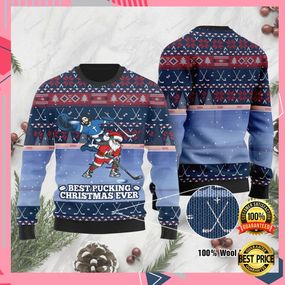 Jesus And Santa Claus Best Pucking Christmas Ever Ugly Sweater 4