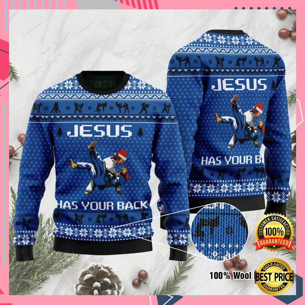 Jesus Has Your Back Judo Ugly Sweater 4