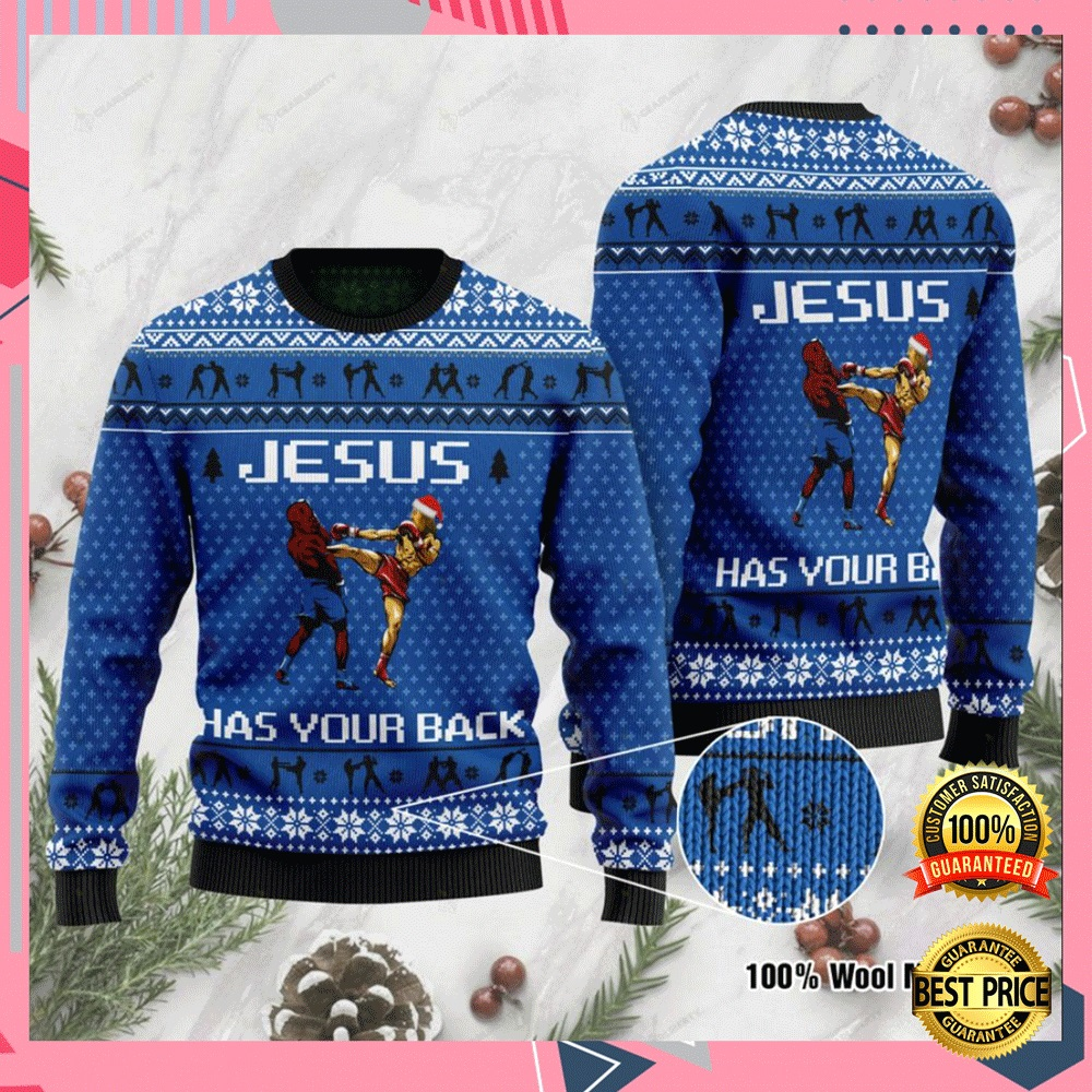 Jesus Has Your Back Muay Thai Ugly Sweater 4