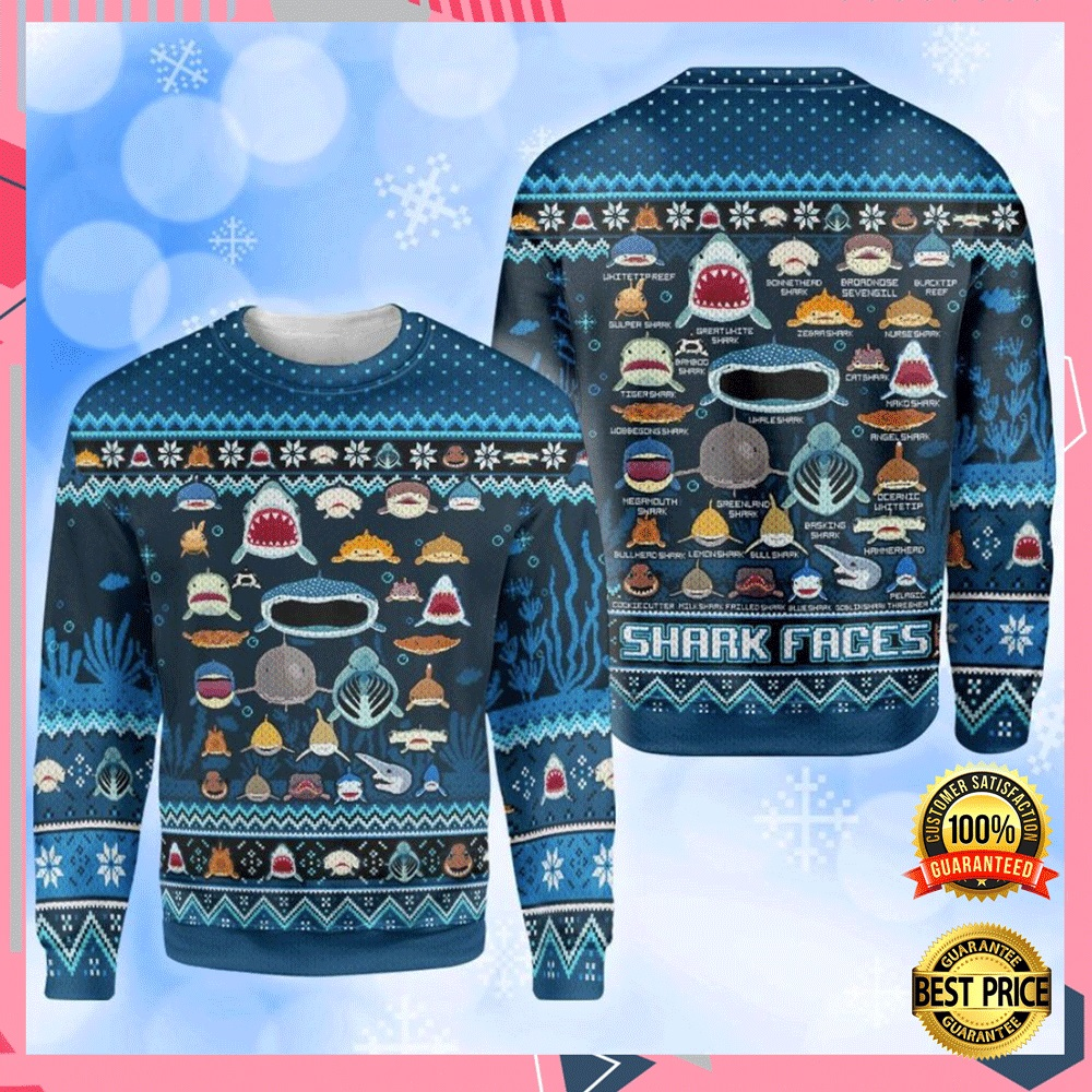 Shark Faces Ugly Sweater 4