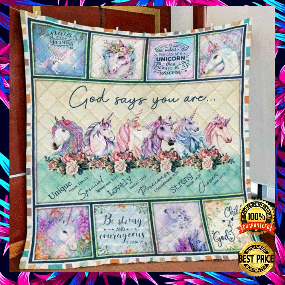 Unicorn God Says You Are Unique Special Lovely Precious Strong Chosen Quilt 4