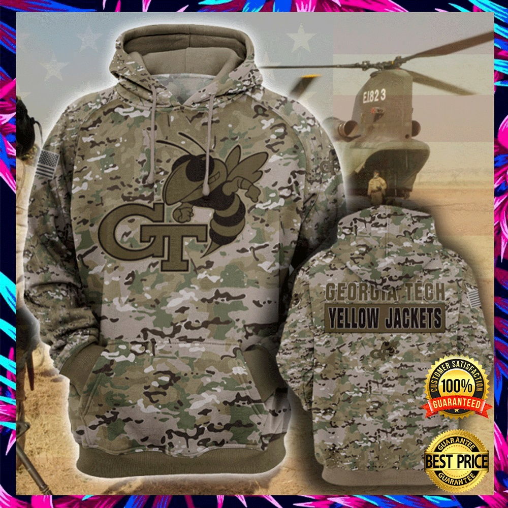 Army Camo Georgia Tech Yellow All Over Printed 3d Hoodie 4