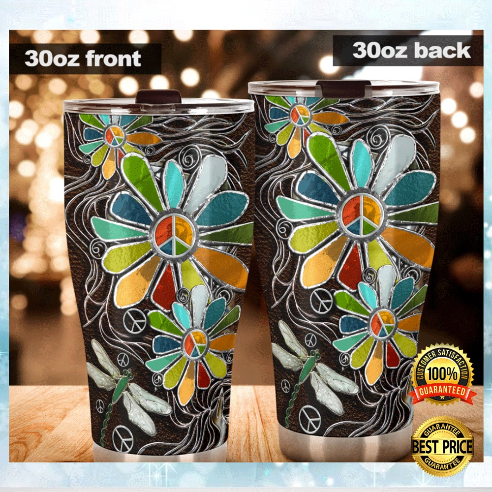 DRAGONFLY AND HIPPIE SUNFLOWER TUMBLER 4