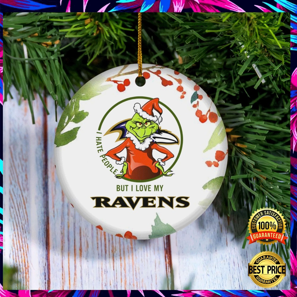 Grinch I Hate People But I Love Baltimore Ravens Christmas Ornament 4