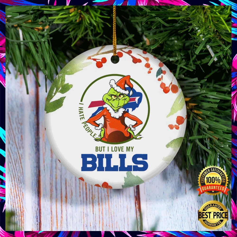 Grinch I Hate People But I Love Buffalo Bills Christmas Ornament 4