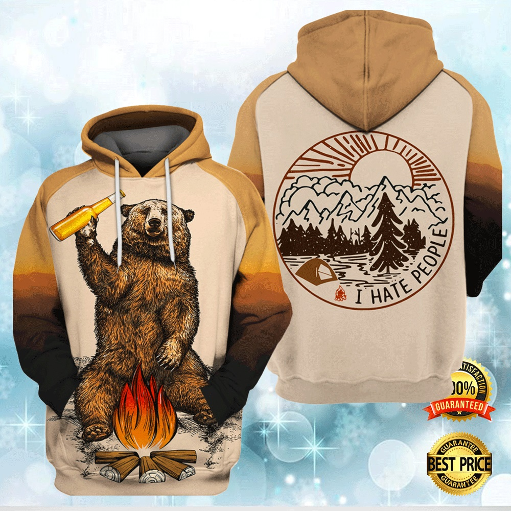 Camping Bear I Hate People All Over Printed 3d Hoodie 4