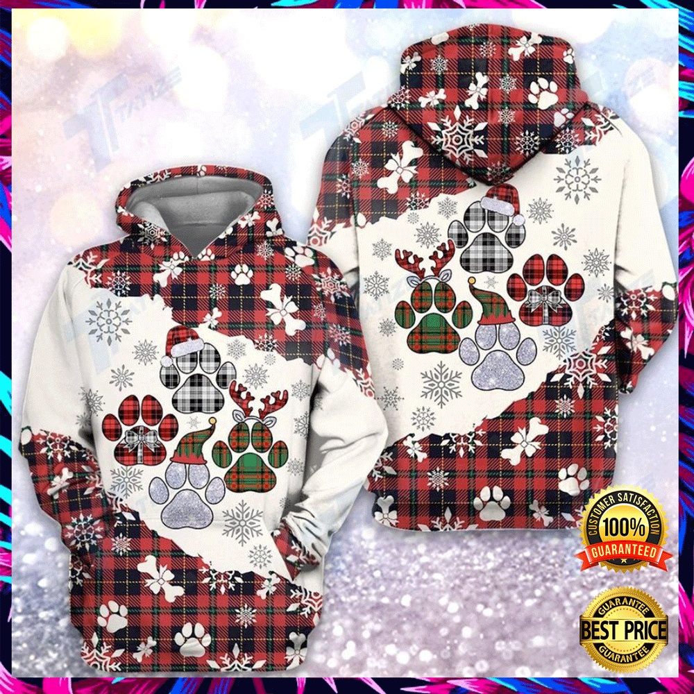 Christmas Tartan Dog Paw All Over Printed 3d Hoodie 4