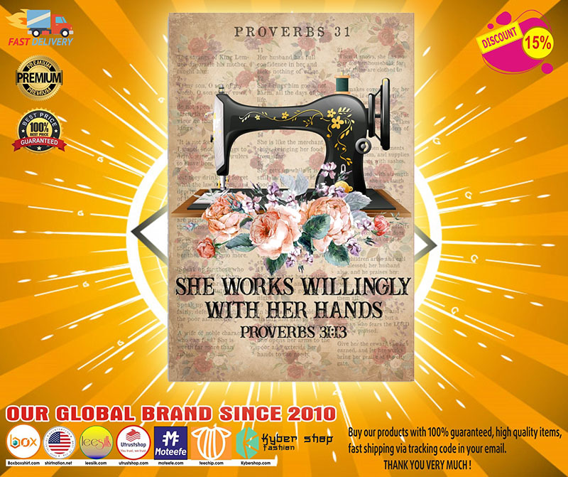 [LIMITED] Poster Sewing She works willingly with her hands proverbs