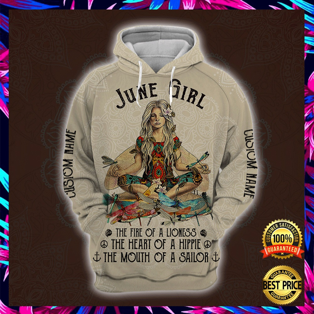 Yoga June Girl He Fire Of A Lioness The Heart Of A Hippie The Mouth Of A Sailor All Over Printed 3d Hoodie 4