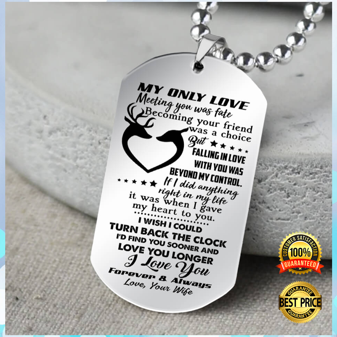 Deer Couple My Only Love Meeting You Was Fate Becoming Your Friend Was A Choice Dog Tag 5