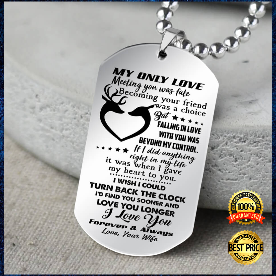 Deer Couple My Only Love Meeting You Was Fate Becoming Your Friend Was A Choice Dog Tag 4