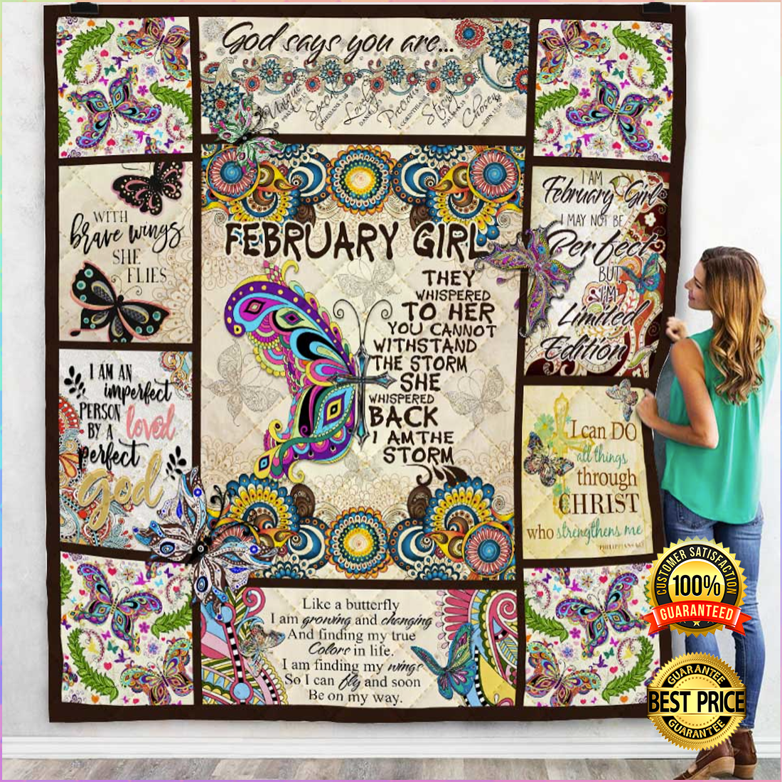[ Hot ] FEBRUARY GIRL THEY WHISPERED TO HER YOU CANNOT WITHSTAND THE STORM QUILT