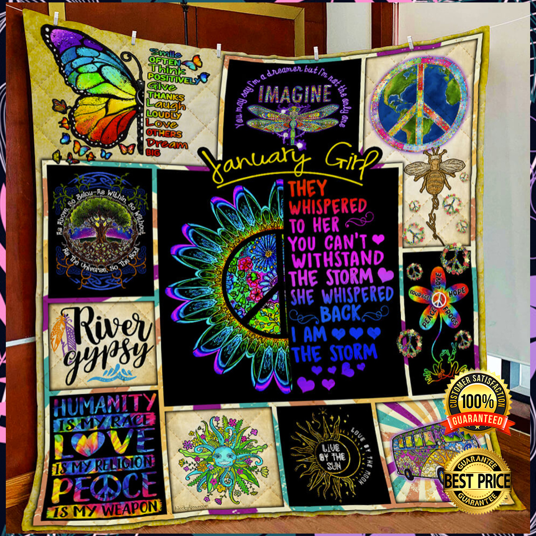 Hippie January Girl They Whispered To Her You Cannot Withstand The Storm Quilt 4