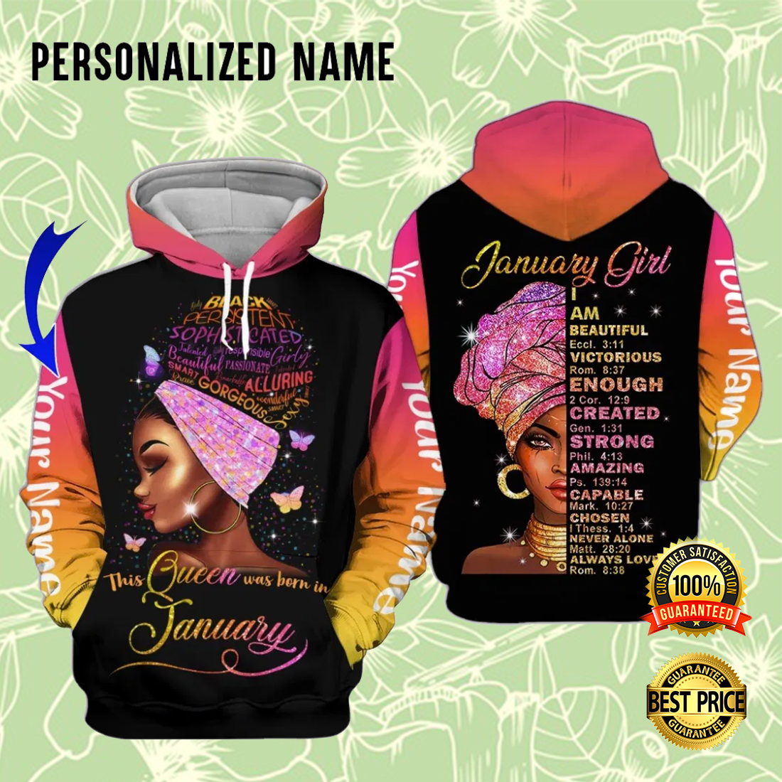 [ Cheapest ] PERSONALIZED JANUARY GIRL I AM BEAUTIFUL VICTORIOUS ENOUGH CREATED ALL OVER PRINTED 3D HOODIE