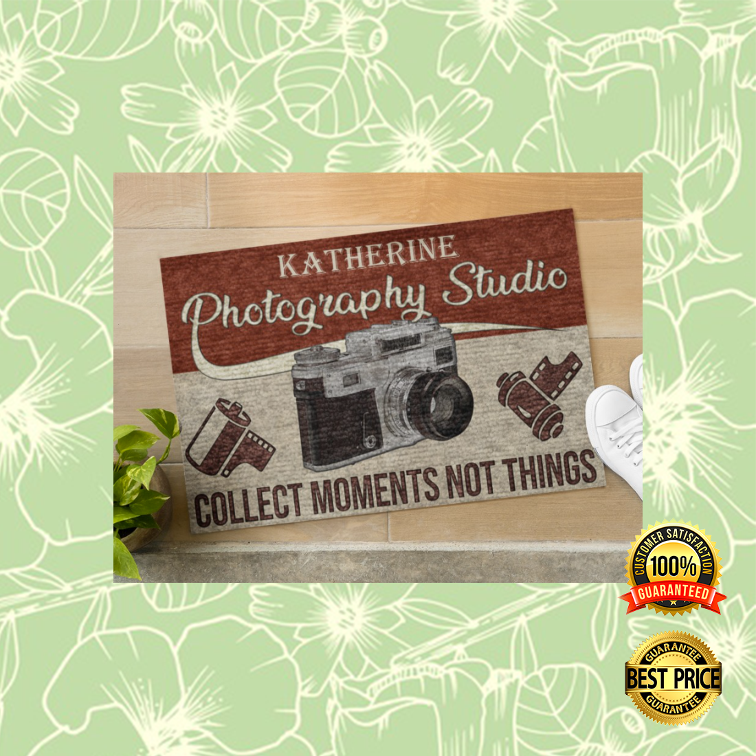 Personalized photography studio collect moments not things doormat 1