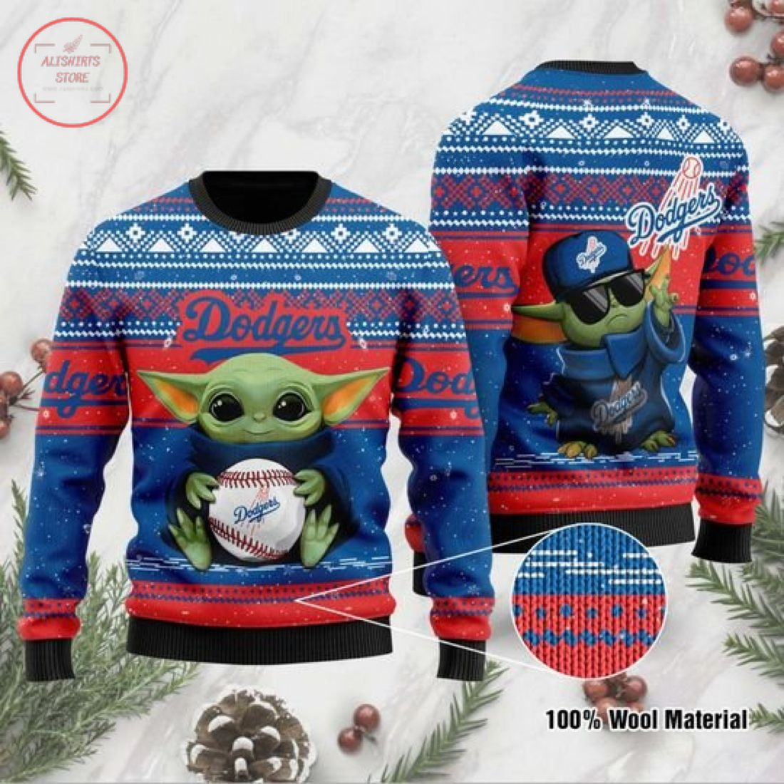 Baby Yoda Los Angeles Dodgers Ugly Christmas Sweater