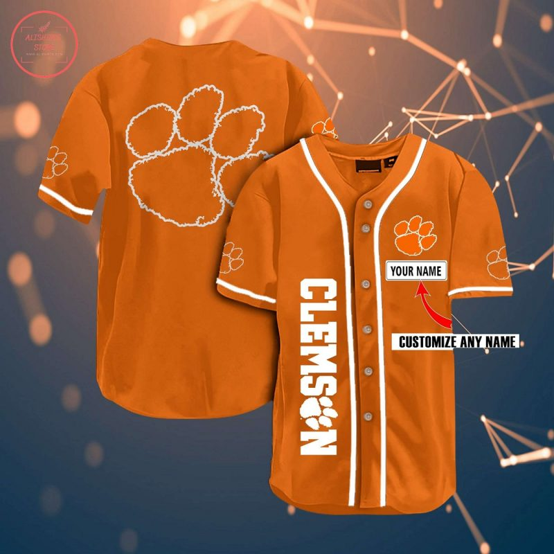 Ncaa Clemson Tigers Personalized Name Baseball Jersey