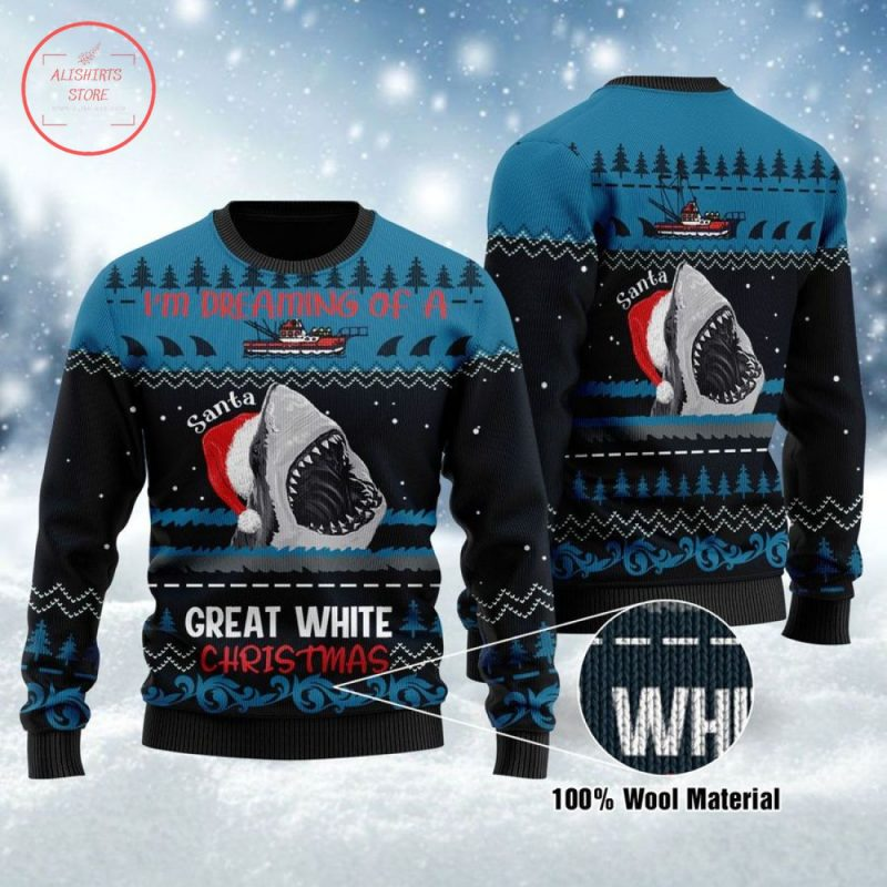 I'm Dreaming of a Great White Christmas Shark Ugly Sweater